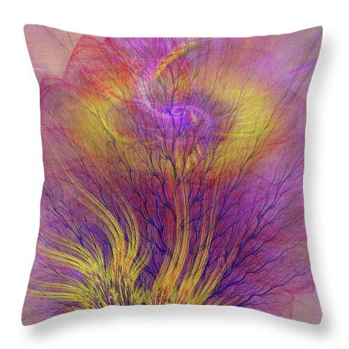 Burning Bush Throw Pillow featuring the digital art Burning Bush by John Robert Beck