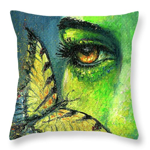 Woman Face Throw Pillow featuring the painting Butterfly Fantasy by Natalja Picugina