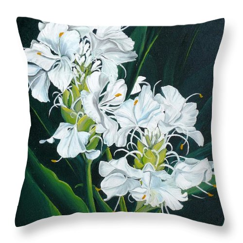 Caribbean Painting Butterfly Ginger Painting Floral Painting Botanical Painting Flower Painting Water Ginger Painting Or Water Ginger Tropical Lily Painting Original Oil Painting Trinidad And  Tobago Painting Tropical Painting Lily Painting White Flower Painting Throw Pillow featuring the painting Butterfly Ginger by Karin Dawn Kelshall- Best