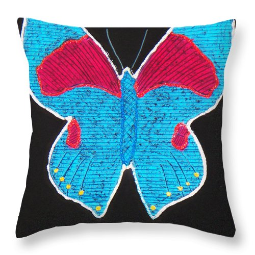 Drawing Throw Pillow featuring the mixed media Butterfly by Sergey Bezhinets
