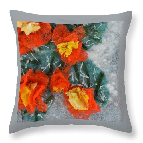 Dryer Sheets Throw Pillow featuring the mixed media Cactus Flowers by Charla Van Vlack