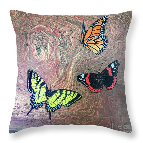 Butterflies Throw Pillow featuring the painting California Butterflies by Lucy Arnold