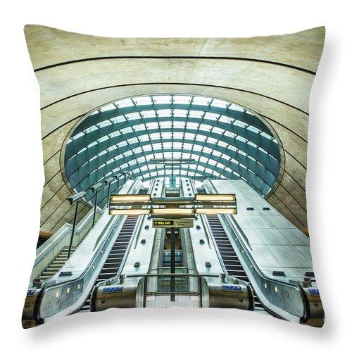 London Throw Pillow featuring the photograph Canary Wharf Underground Station Escalators, London, England by Neale And Judith Clark