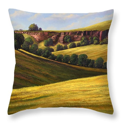 Landscape Throw Pillow featuring the painting Canyon Oaks by Frank Wilson