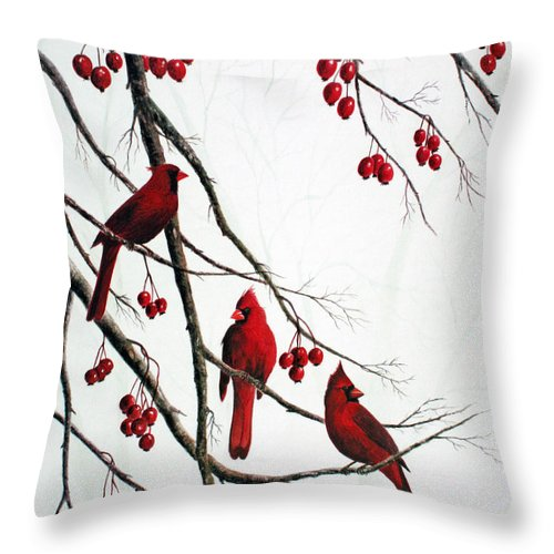 Birds; Cardinals; Trees Throw Pillow featuring the painting Cardinals And Crabapples by Ben Kiger