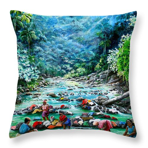 Land Scape Painting River Painting Mountain Painting Rain Forest Painting Washerwomen Painting Laundry Painting Caribbean Painting Tropical Painting Village Washer Women At A Mountain River In Trinidad And Tobago Throw Pillow featuring the painting Caribbean Wash Day by Karin Dawn Kelshall- Best