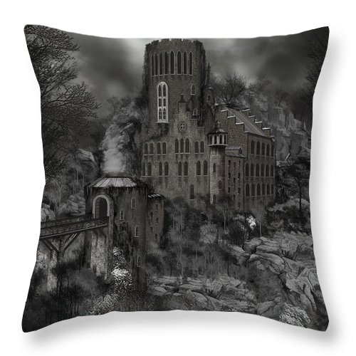 Castle Throw Pillow featuring the painting Casa Los Diavla by James Christopher Hill