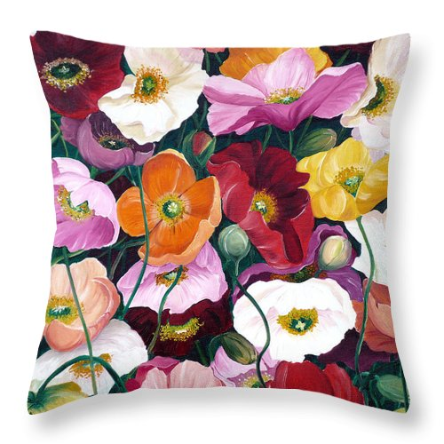 Flower Painting Floral Painting Poppy Painting Icelandic Poppies Painting Botanical Painting Original Oil Paintings Greeting Card Painting Throw Pillow featuring the painting Cascade Of Poppies by Karin Dawn Kelshall- Best