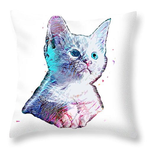 Cat Throw Pillow featuring the digital art Cat Baby by Trindira A