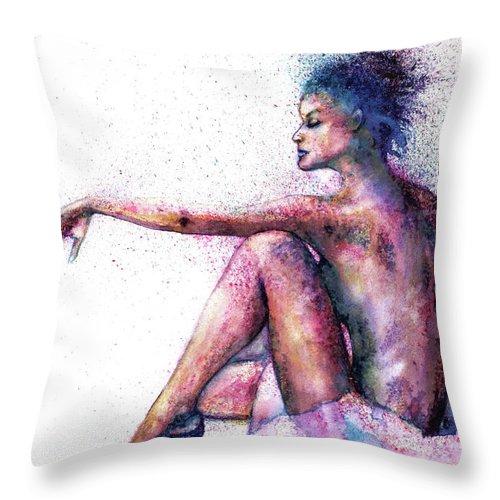 Woman Throw Pillow featuring the painting Cat original oil painting by Natalja Picugina