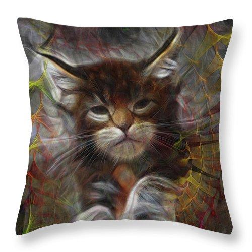 Cat Throw Pillow featuring the digital art Catatude by John Robert Beck