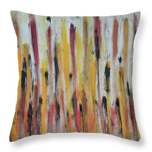 Red Throw Pillow featuring the painting Cattails at Sunset by Pam Roth O'Mara
