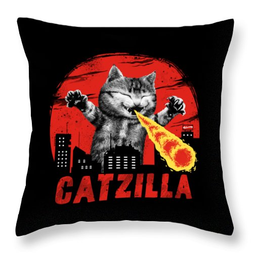 Cat Throw Pillow featuring the digital art Catzilla by Vincent Trinidad