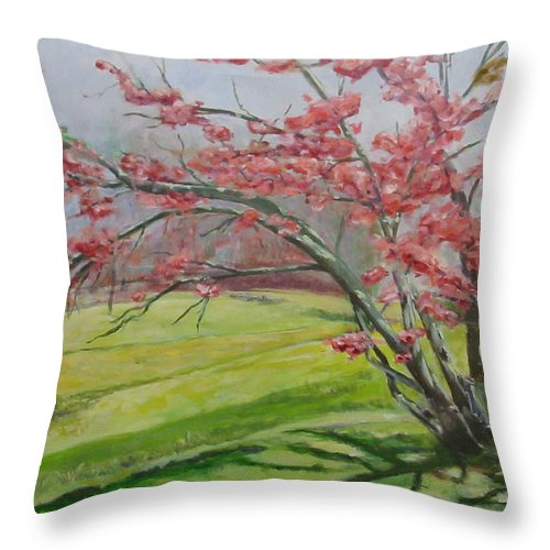 Landscape Throw Pillow featuring the painting Cedarock Plum by Jude Lobe