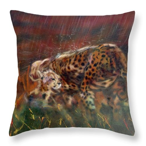 Oil Painting On Canvas Throw Pillow featuring the painting Cheetah Family After The Rains by Sean Connolly