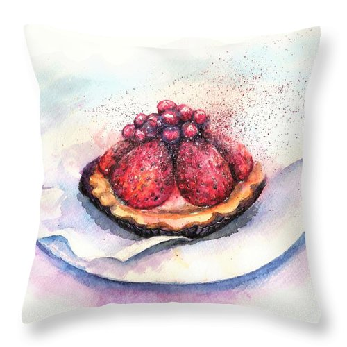 Cake Throw Pillow featuring the painting CHERRIES cake by Natalja Picugina