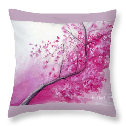 Rick Huotari Throw Pillow featuring the painting Cherry Tree In Bloom by Rick Huotari