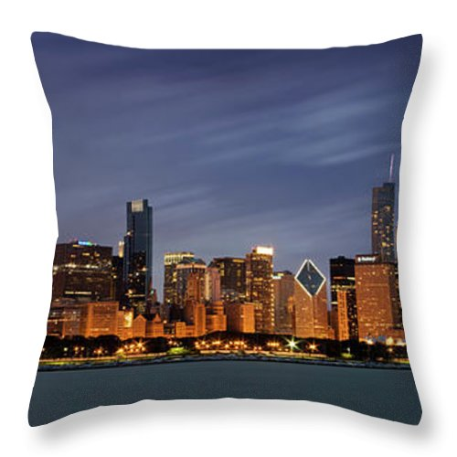 Chicago Skyline At Night Color Panoramic Throw Pillow For Sale By Adam Romanowicz