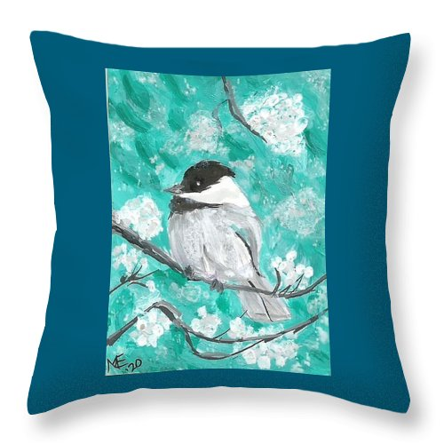 Chickadee Painting Throw Pillow featuring the painting Chickadee by Monica Resinger