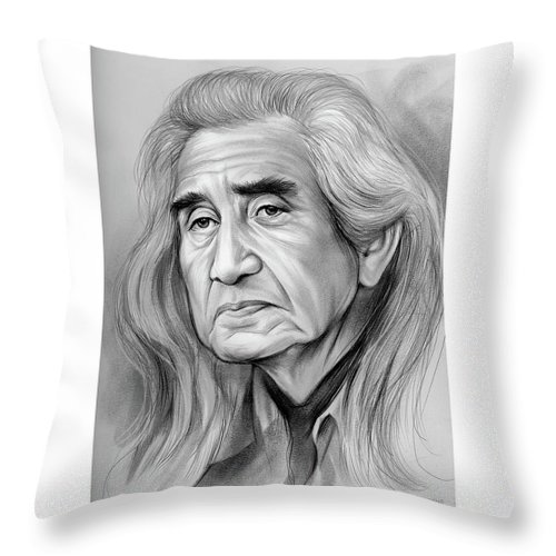 Chief Dan George Throw Pillow featuring the drawing Chief Dan George - Pencil by Greg Joens