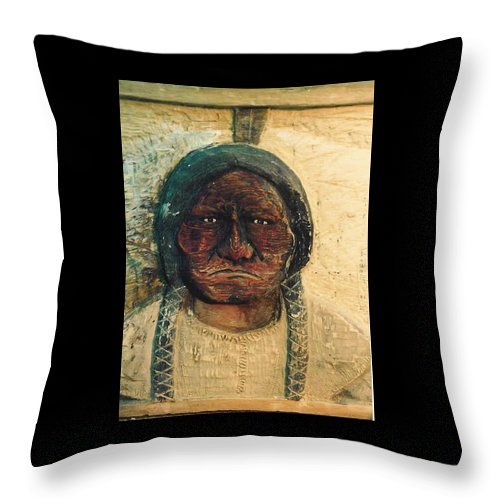 Indian Throw Pillow featuring the sculpture Chief Sitting Bull by Michael Pasko