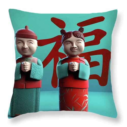 China Throw Pillow featuring the digital art Chinese Good Luck Statues by Heike Remy