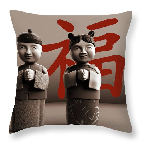 Chinese Throw Pillow featuring the digital art Chinese Statues_Sepia by Heike Remy