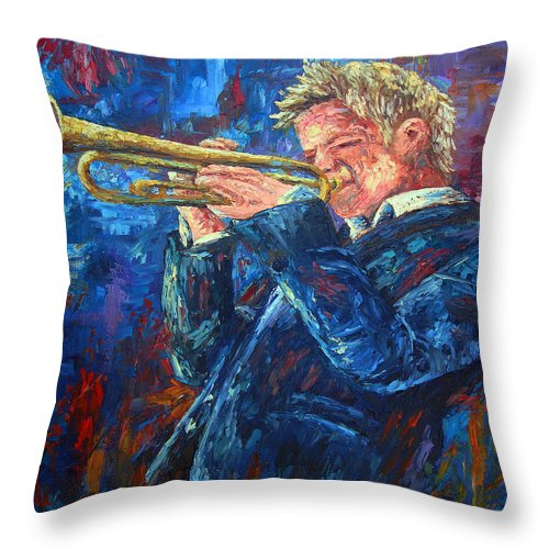 Jazz Throw Pillow featuring the painting Chris Botti by David G Paul