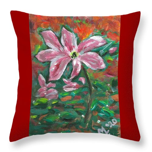Clematis Painting Throw Pillow featuring the painting Clematis by Monica Resinger