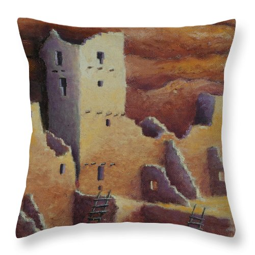 Anasazi Throw Pillow featuring the painting Cliff Pallace by Jerry McElroy