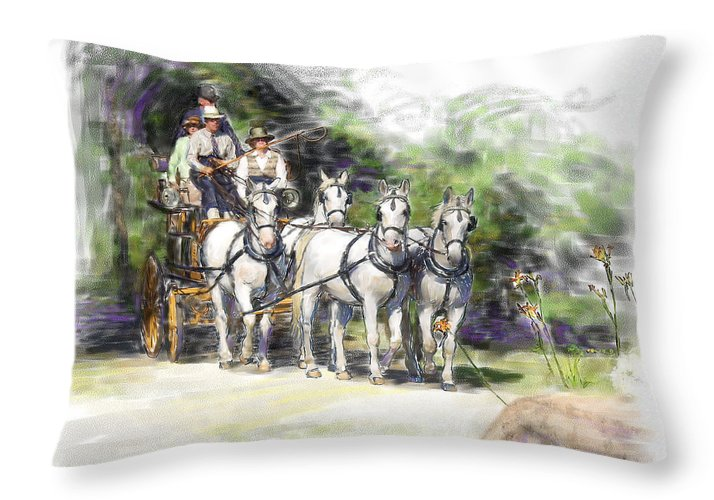 Horse Throw Pillow featuring the painting Coaching In Acadia- Carriage Driving Four In Hand by Connie Moses