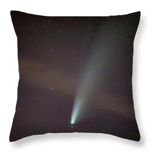 Comet Throw Pillow featuring the photograph Comet Neowise by Nunzio Mannino
