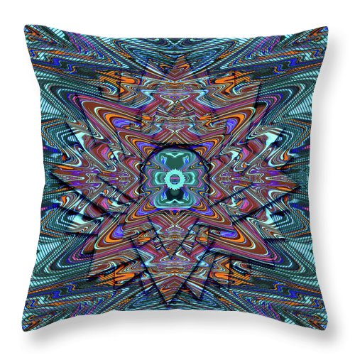 Abstract Throw Pillow featuring the digital art Cosmic Compass by Jack Entropy