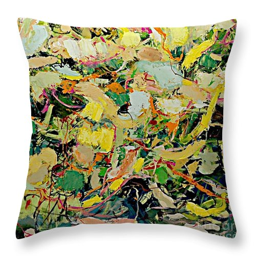 Landscape Throw Pillow featuring the painting Cotton Blossom by Allan P Friedlander