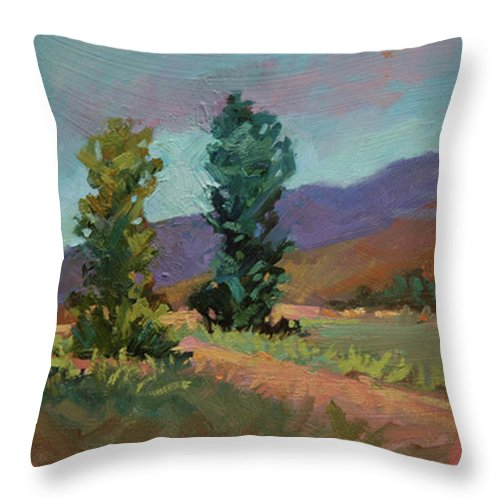 Cottonwood Paintings Throw Pillow featuring the painting Cottonwoods by Betty Jean Billups