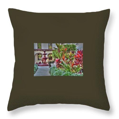 Courtyard Throw Pillow featuring the photograph Courtyard by Debbi Granruth