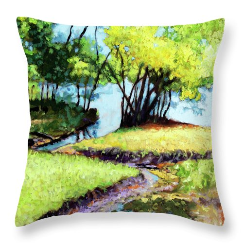 Trees Throw Pillow featuring the painting Creve Coeur Stream by John Lautermilch