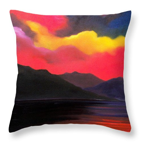 Surreal Throw Pillow featuring the painting Crimson clouds by Sergey Bezhinets