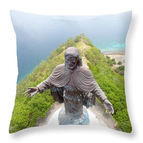 Adventure Throw Pillow featuring the photograph Cristo Rei of Dili statue of Jesus by Brthrjhn2099