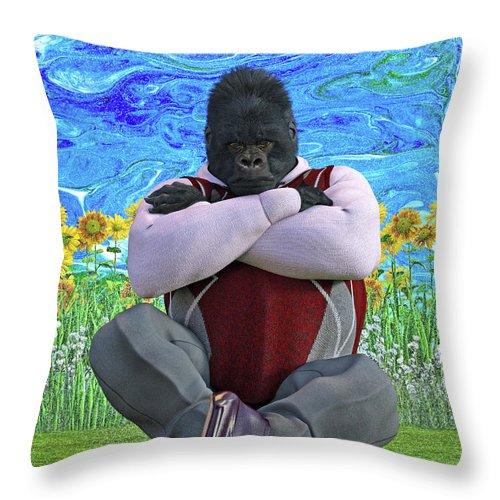 Gorilla Throw Pillow featuring the digital art Cross Gorilla by Betsy Knapp