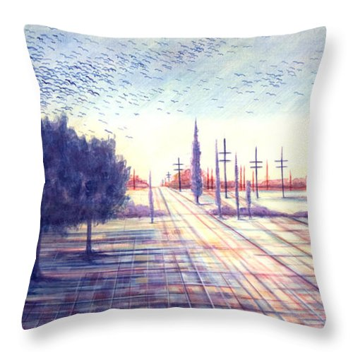 Crows Throw Pillow featuring the painting Crows by Judy Henninger