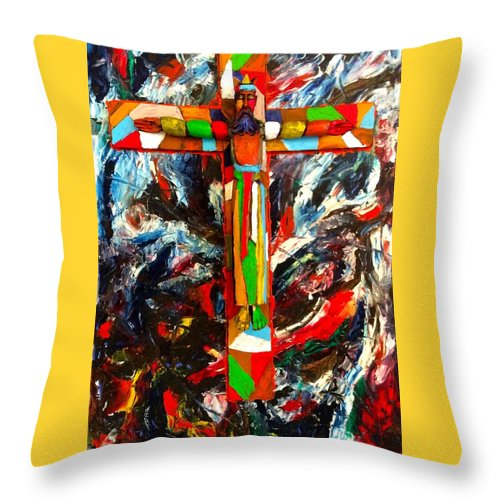 Crucifixion Throw Pillow featuring the mixed media Crucifixion by Biagio Civale