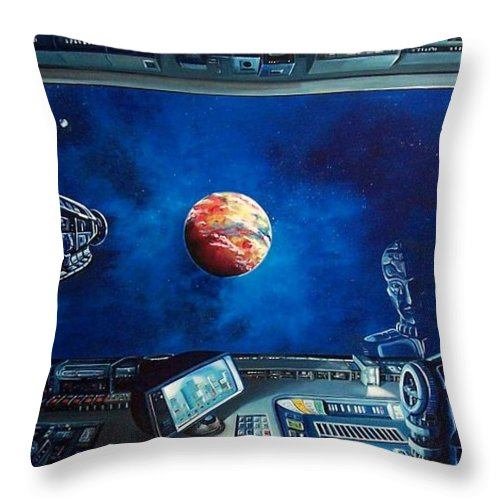 Fantasy Throw Pillow featuring the painting Crying Robot by Murphy Elliott