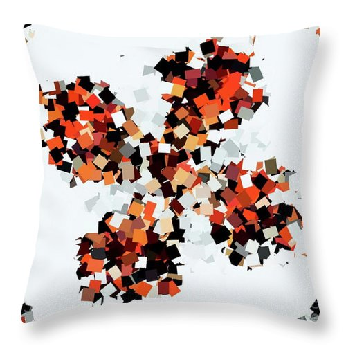 Digital Art Throw Pillow featuring the digital art Crystal Butterfly Orange by Tracey Lee Cassin