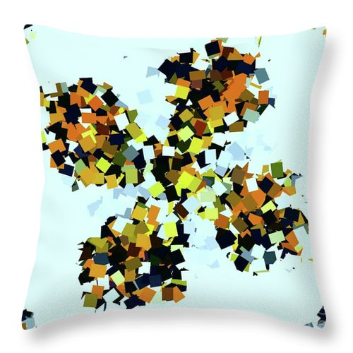 Digital Art Throw Pillow featuring the digital art Crystal Butterfly Yellow by Tracey Lee Cassin