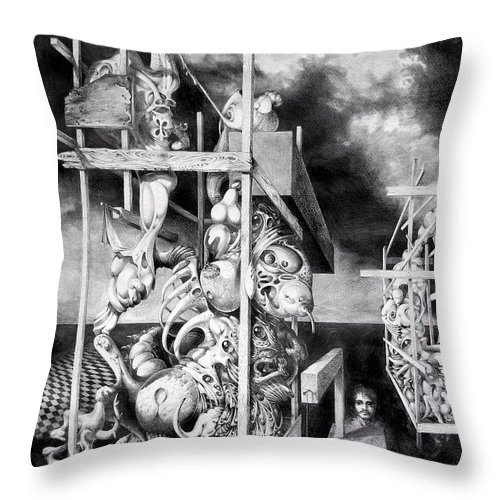 Surrealism Throw Pillow featuring the drawing Cthulhu Monuments by Otto Rapp