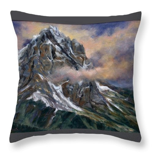 Landscape Throw Pillow featuring the painting Daddy Teton by Jim Gola