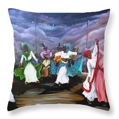 Caribbean Painting Original Painting Folklore Dance Painting Trinidad And Tobago Painting Dance Painting Tropical Painting Throw Pillow featuring the painting Dance The Pique by Karin Dawn Kelshall- Best
