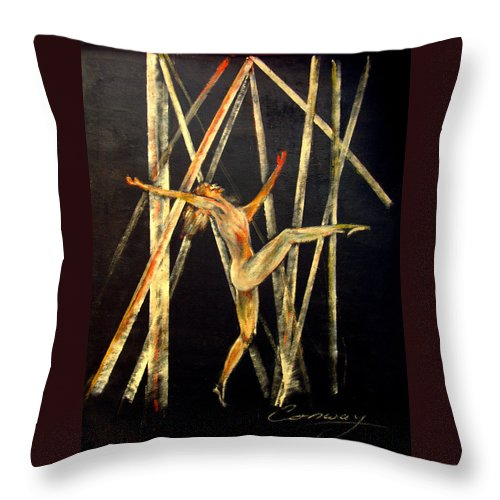 Female Throw Pillow featuring the painting Dancer in Light by Tom Conway