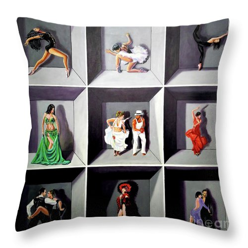 Dancing Throw Pillow featuring the painting Dancers by Jose Manuel Abraham